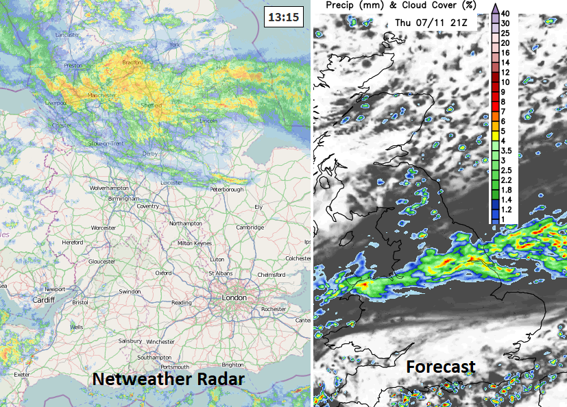 UK radar and forecast rain UK Thrus pm