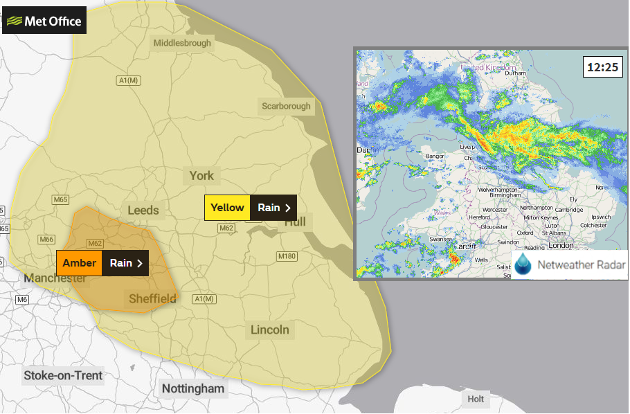 Amber warning for northern England as more rain brings flooding disruption