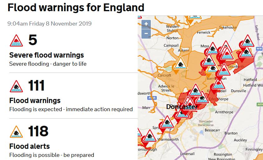 Severe flood warnings River Don Doncaster
