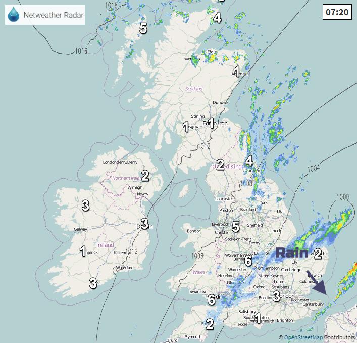 Netweather Radar rain and temps