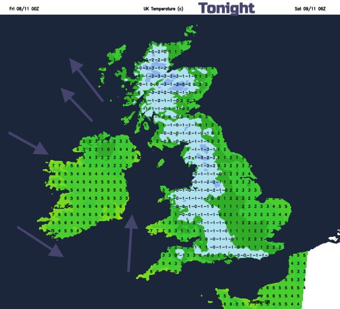Tonight temperatures UK frost