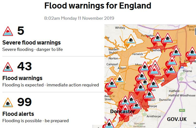 Flood warnings England River Don