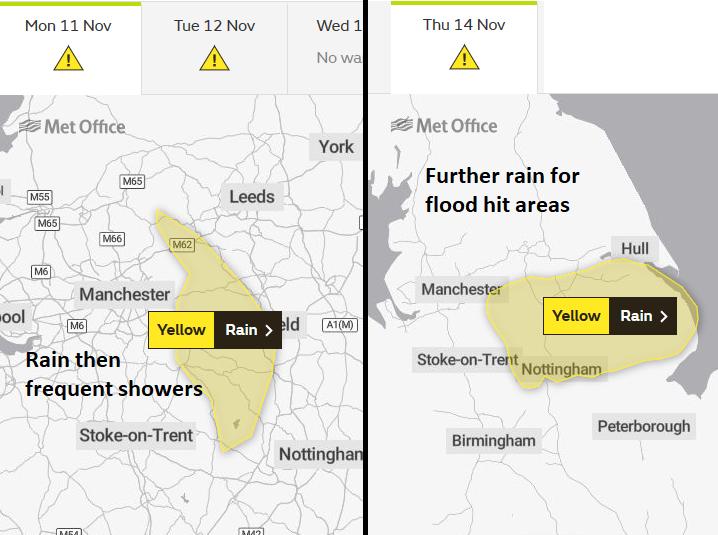 Met Office yellow rain warning England