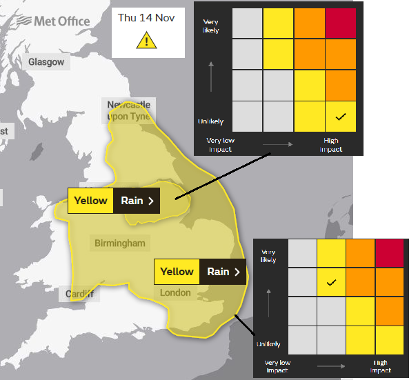 Yellow warning for rain and flood risk Thursday England