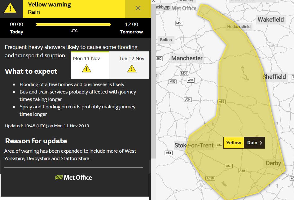 UK MEt Office yellow warning Rain Mon Tues