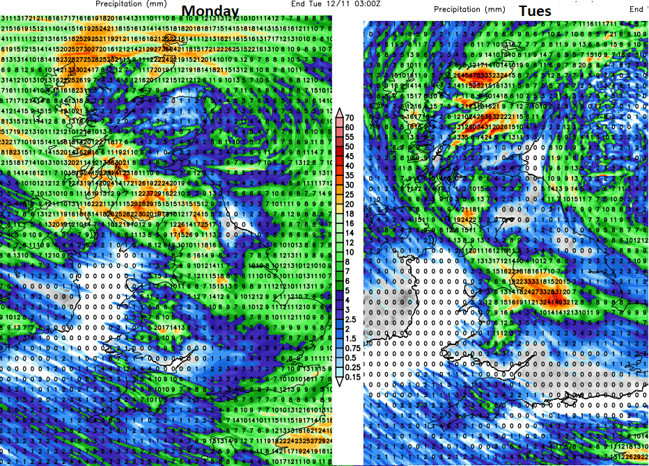Rainfall totals UK Monday Tuesday
