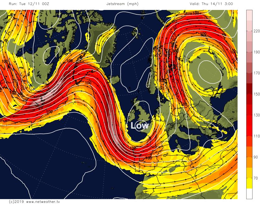 UK jetstream Atlantic low pressure