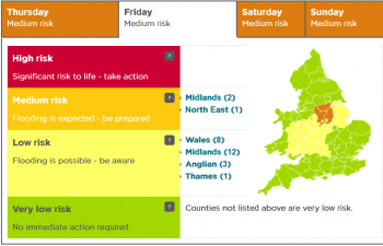 Flooding update: Progress of Thursday's rain and a look at UK warnings