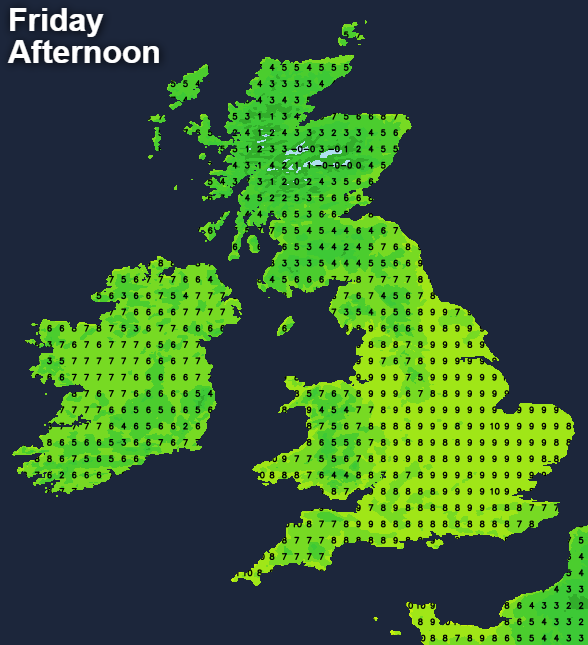 Temperatures on Friday afternoon