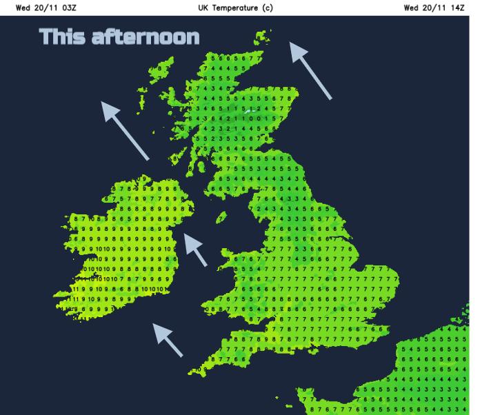 UK weather temperatures winds