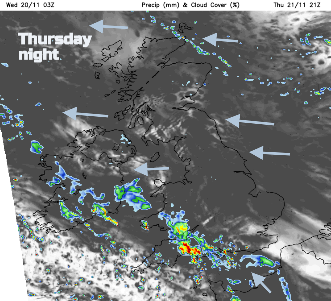 Rain from the SW Thursday night England Wales