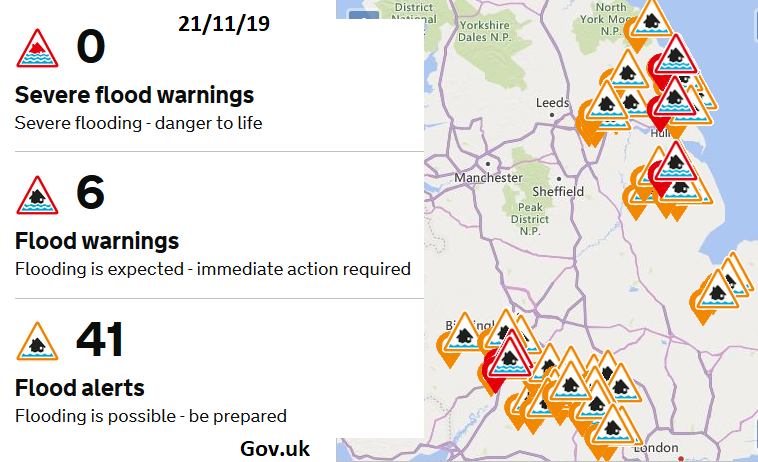 Flood warnings for England and Wales