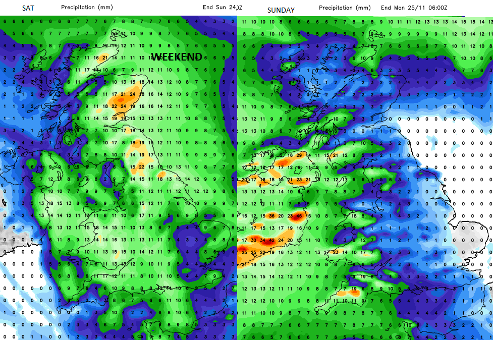 Rainfall forecast UK Sat Sunday