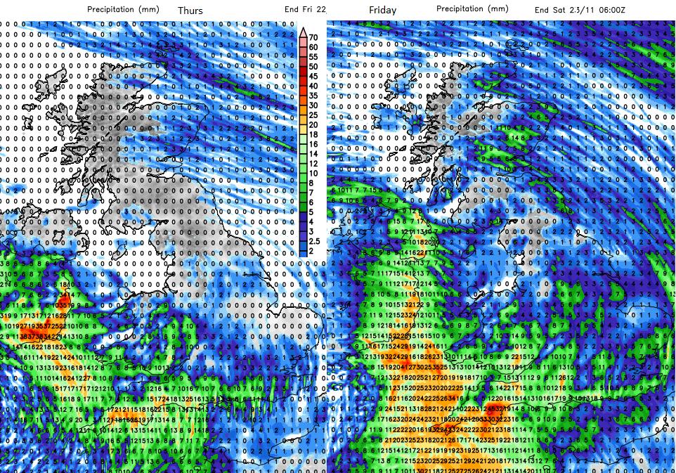 Forecast rainfall UK thursday Friday