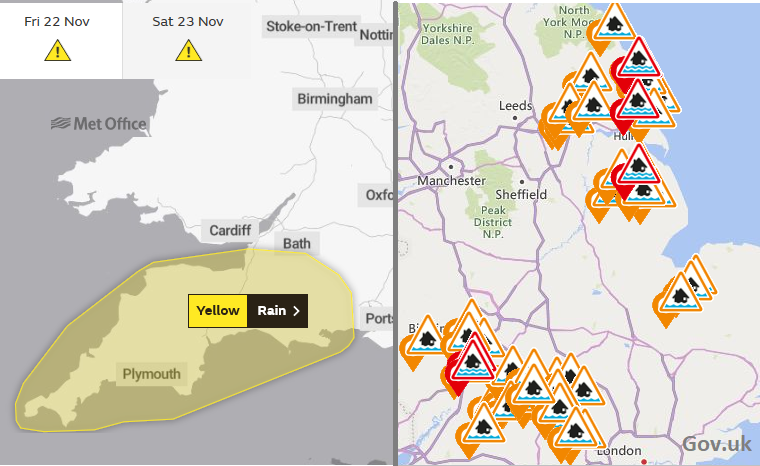 MEt office warning rain SW and flood warnings