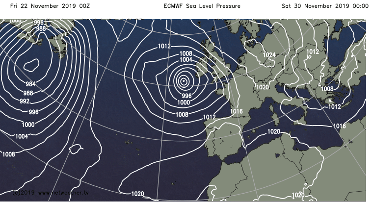 ECMWF model low for next weekend