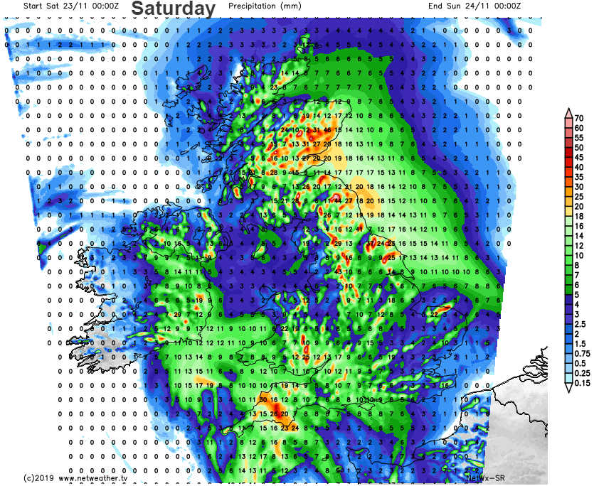 Saturday rainfall totals forecast UK