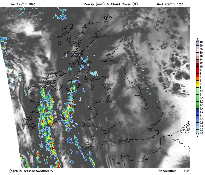 Some showers in the west on Wednesday