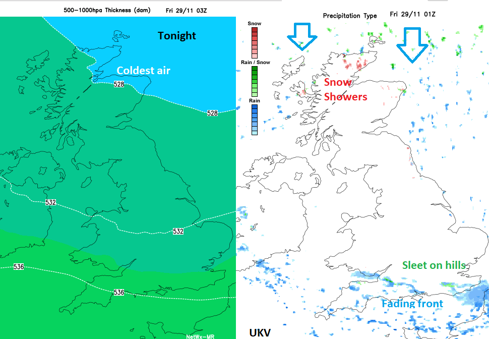 Cold air UK and snow 500-1000hPa thickness chart
