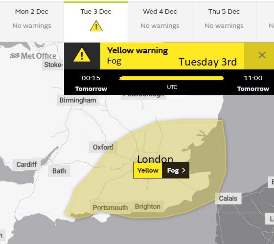 Tuesday morning FOG warning