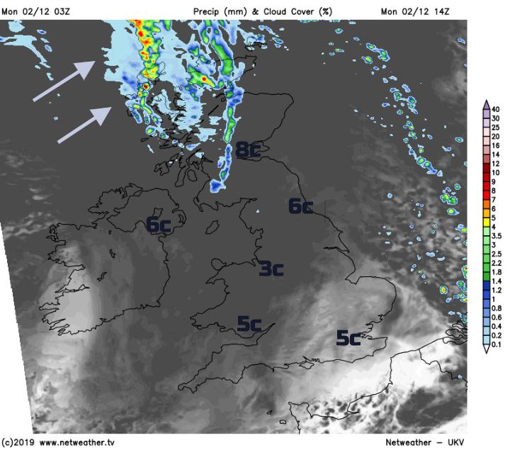 UK Monday afternoon forecast