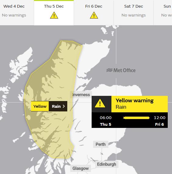 Rain warning western Scotland