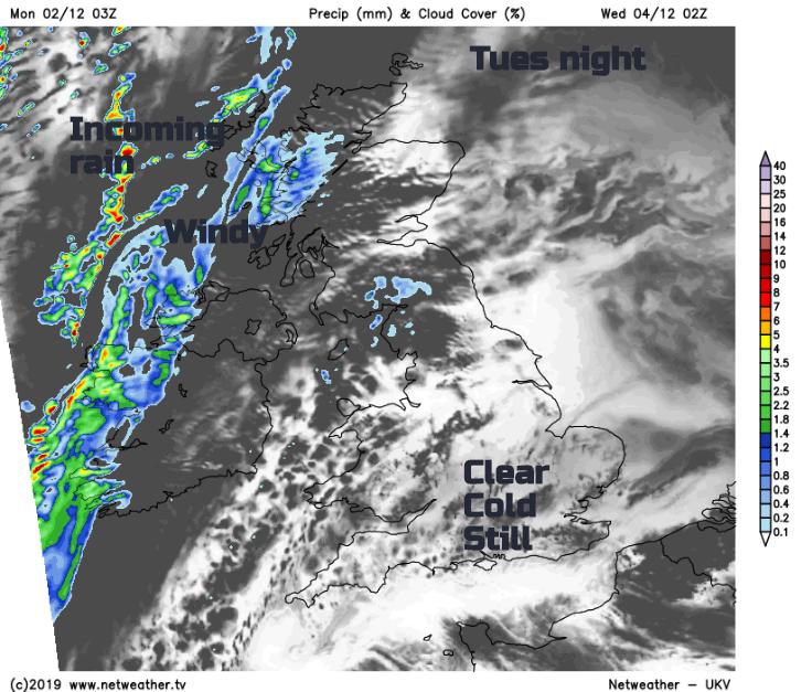 UK weather forecast Tuesday night rain