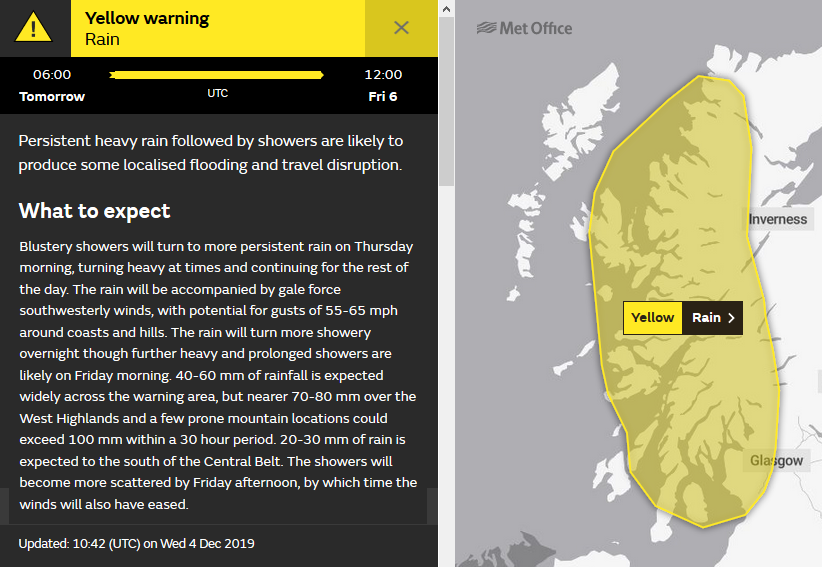 Met Offic yellow rain warning