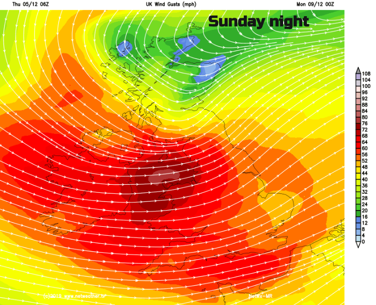 Stormy weather Sunday night 8th Dec