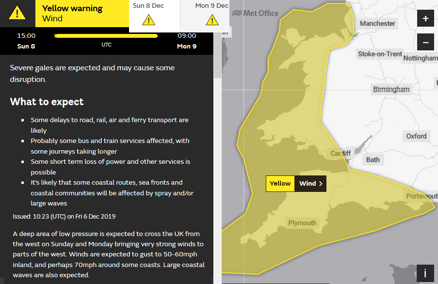Yellow warning for winds Storm Atiyah