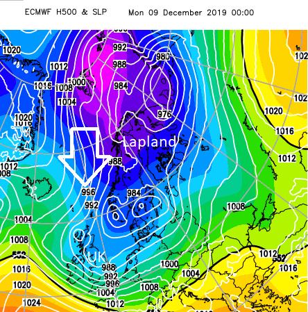 Arctic low cold air Lapland