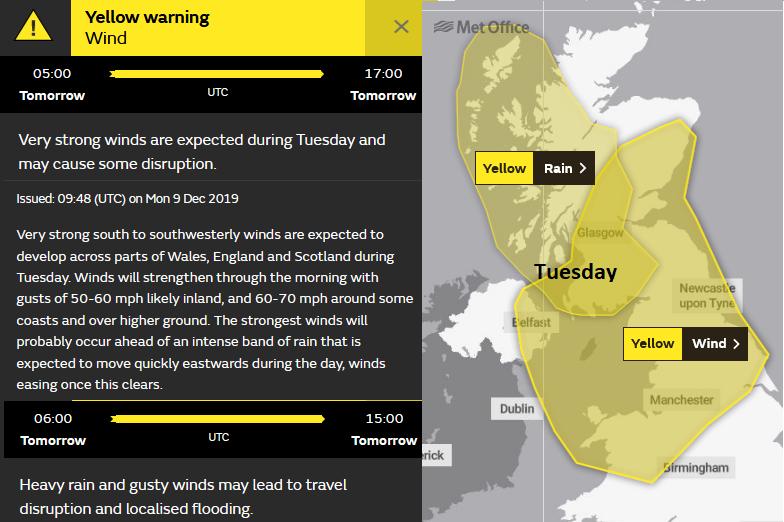 UK warning Wind and Rain Tuesday