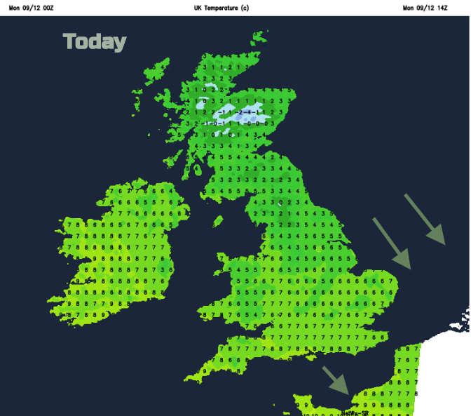 UK temperatures Monday