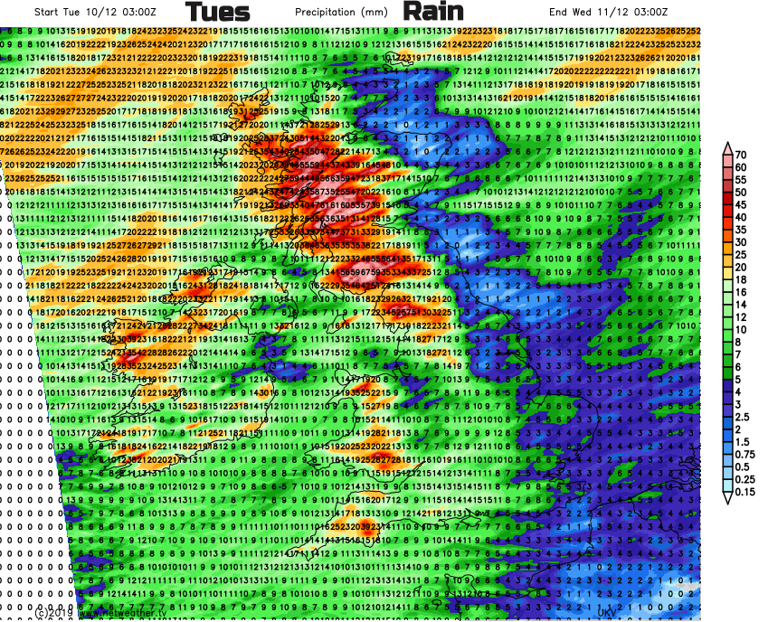 Rainfall totals UK Tuesday