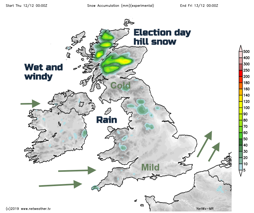 Thursday UK snow Election day weather