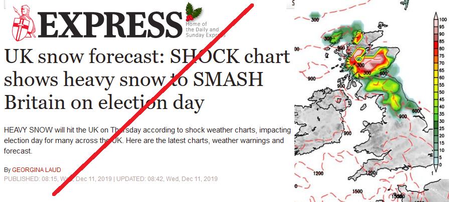 Express snow story UK December