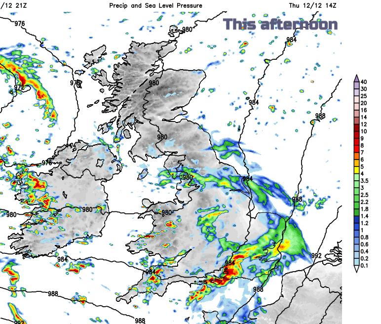 Rain Thursday afternoon UK