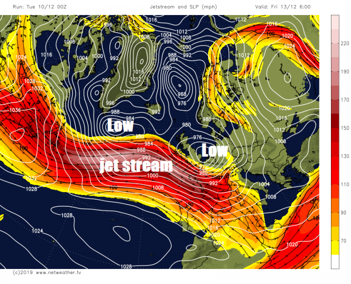 Powerful Jet Stream Bringing Gales, Heavy Rain, Squally Showers & Northern Hill Snow