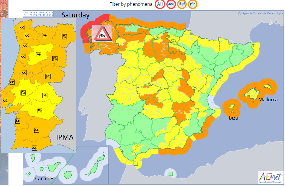Spain Portugal Canary Islands Azores warnings Wind rain