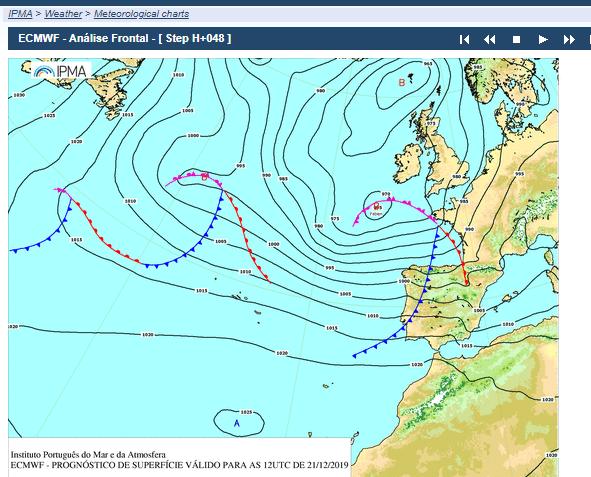 IPMA surface pressure charts Atlantic Portugal Spain UK