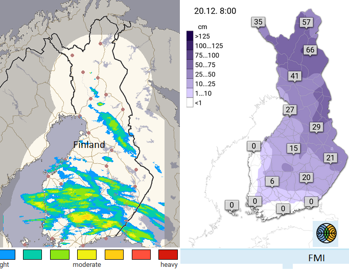 Snow depth and radar Lapland