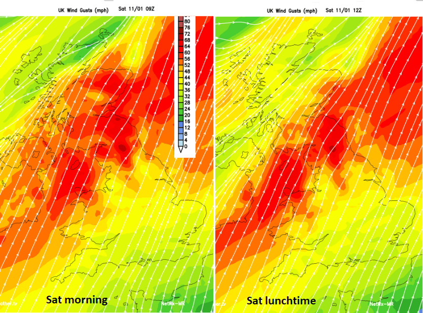 Saturday Winds UK high gusts