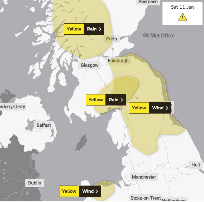 Met Office warnings UK wind and Rain