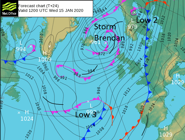 Pressure chart UK Storm Brendan