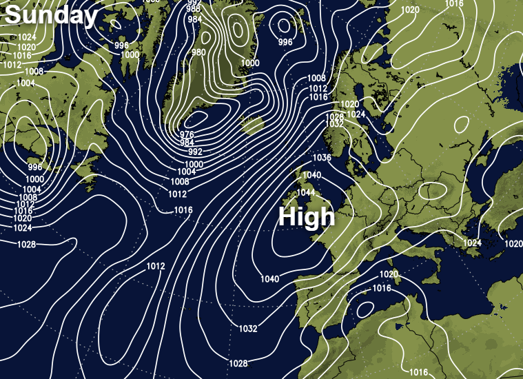 High pressure building across the British Isles this weekend