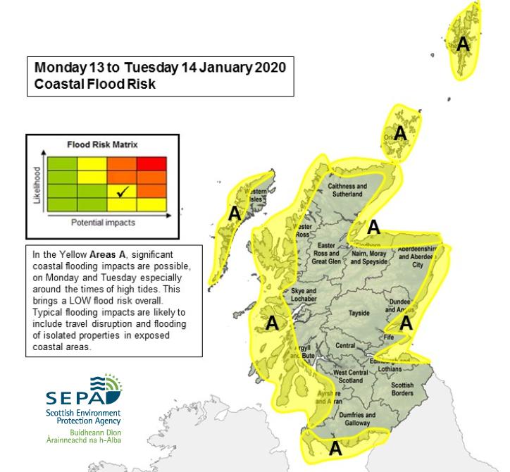 SEPA coastal flooding Scotland Storm Brendan