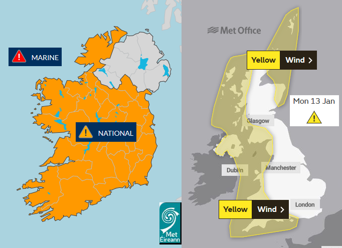 Storm Brendan warnings
