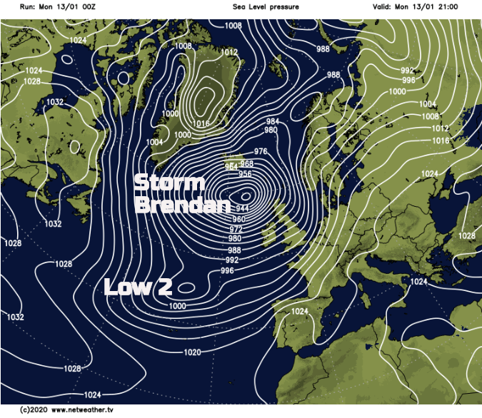 Storm Brendan followed by another low pressure to the southwest