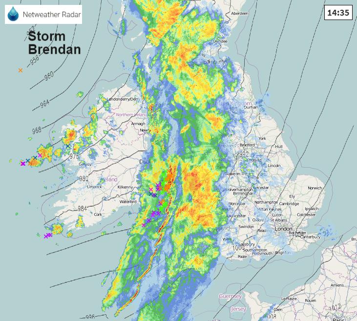 Storm Brendan radar lightning thunderstorms