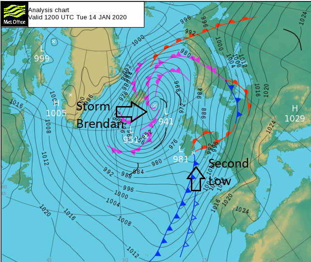Storm Brendan second low